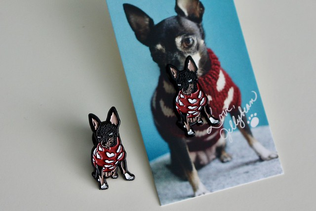 Jellybean in a sweater enamel pin