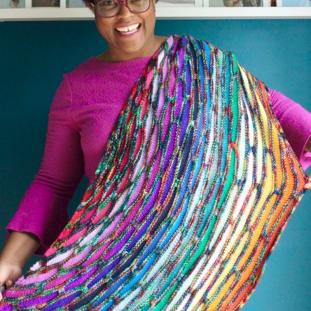 DWJ's rainbow Painting Bricks Shawl