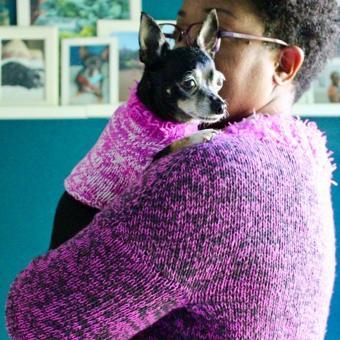 Dana and Jellybean in Chaika sweaters