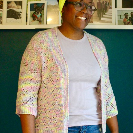 DWJ in the Garnered cardi by Alicia Plummer