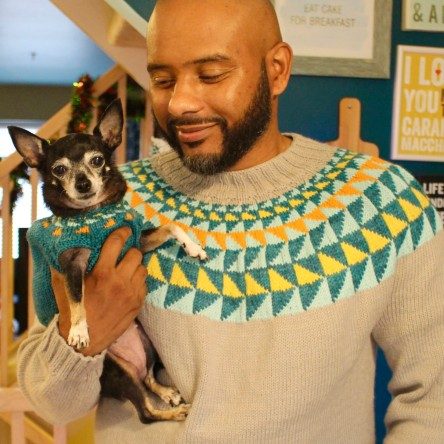Kendell and Jellybean in the Crazyheart sweater