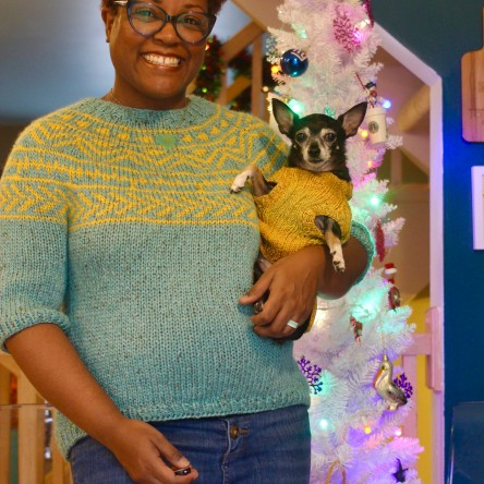 DWJ wearing the Planter Pullover and Jellybean wearing the Lucky Dog sweater